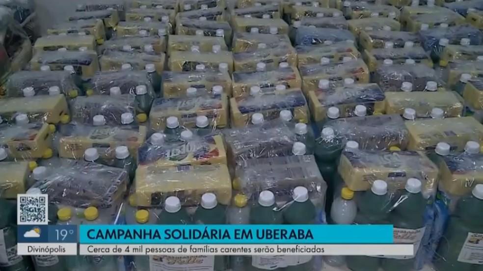 Integração Alimentos foram comprados pelo Lions Clube após doação de parceiros da Fundação Banco do Brasil - Foto: Reprodução/TV Integração
