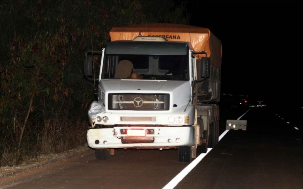 Vítima foi atingida por esse caminhão em rodovia - Foto: Luis Adolfo/Fonseca Press