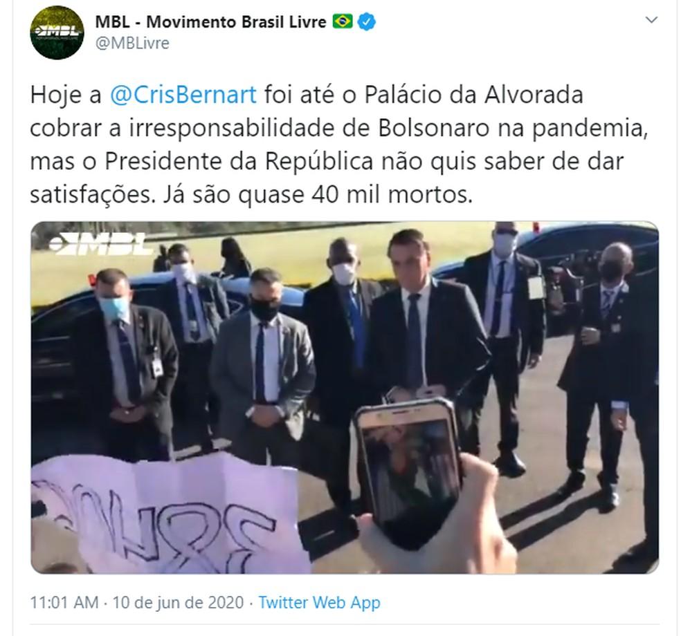 MBL postou no Twitter o vídeo em que uma ex-apoiadora cobra o presidente Jair Bolsonaro pelas mais de 38 mil mortes no país por covid-19 - Foto: Reprodução