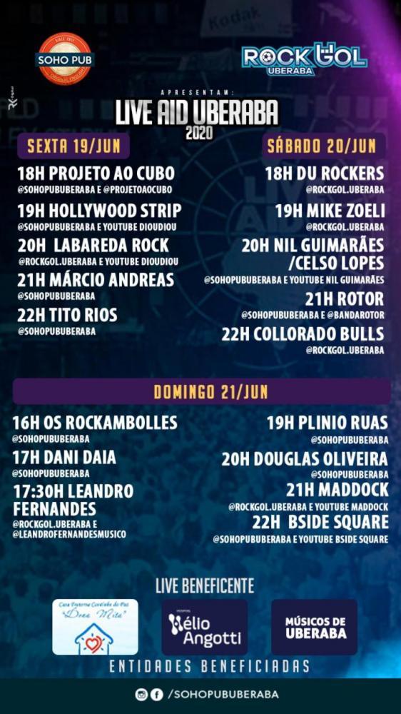 Começa hoje e vai até domingo a super Live Aid Uberaba promovida pelo Soho Pub em prol do Hospital Hélio Angotti, Cantinho Dona Mita e para os músicos de Uberaba, confira a programação!
