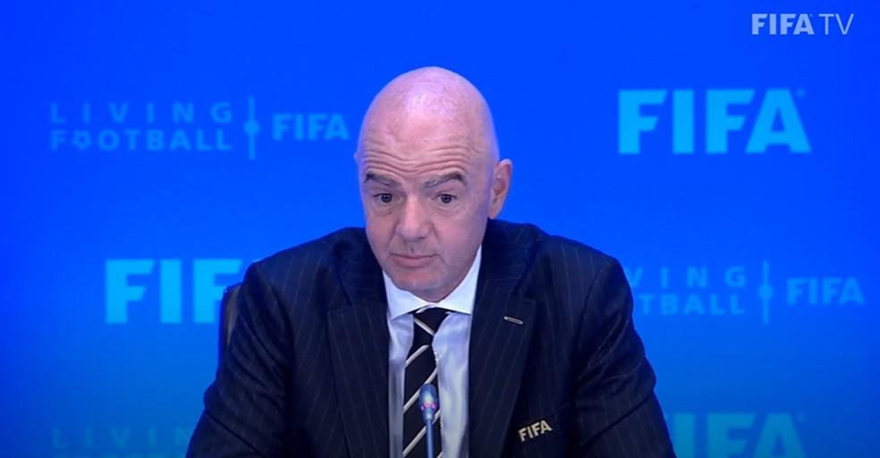 Gianni Infantino durante entrevista coletiva após reunião do conselho da Fifa- Foto: Divulgação