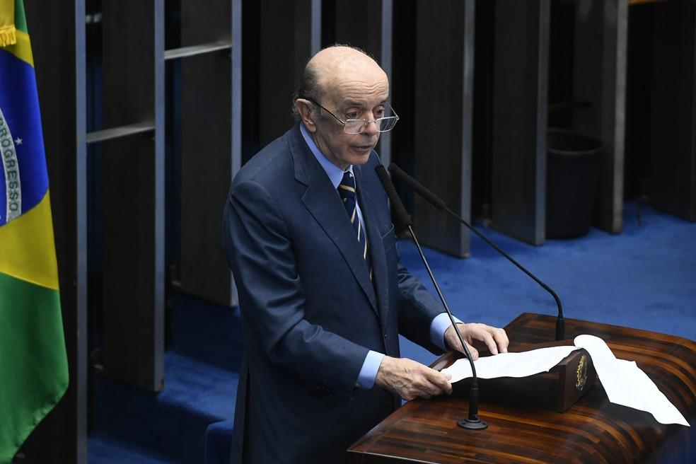 O senador José Serra (PSDB-SP) discursa no plenário do Senado Federal - Foto: Marcos Oliveira/Agência Senado