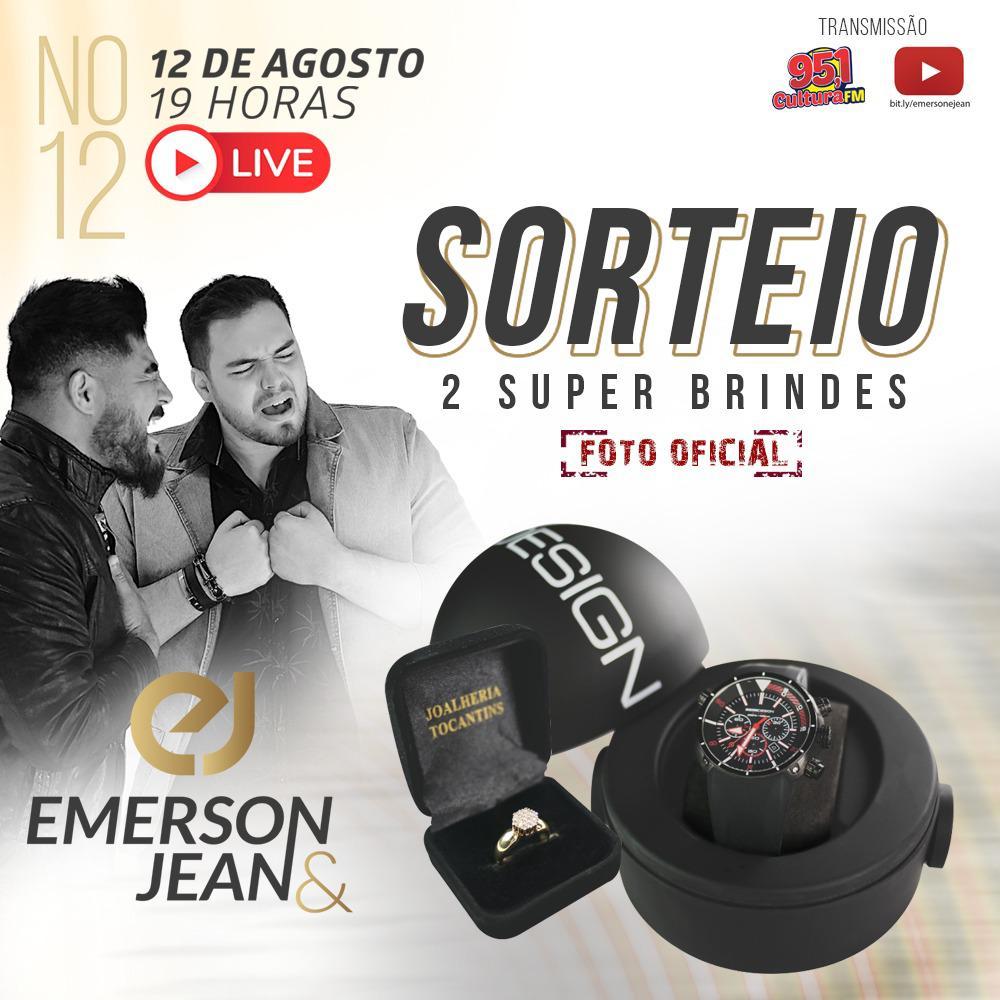 """A dupla revelação da música sertaneja, Emerson & Jean faz na noite de amanhã (12 de agosto), a sua primeira live, """"Emerson e Jean no 12"""", a partir das 19h, pelo Youtube com transmissão simultânea pela Rádio Cultura FM"""