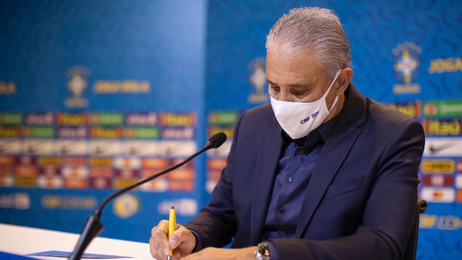 Tite, durante convocação da seleção brasileira em 18 de setembro de 2020 - Foto: Lucas Figueiredo/CBF