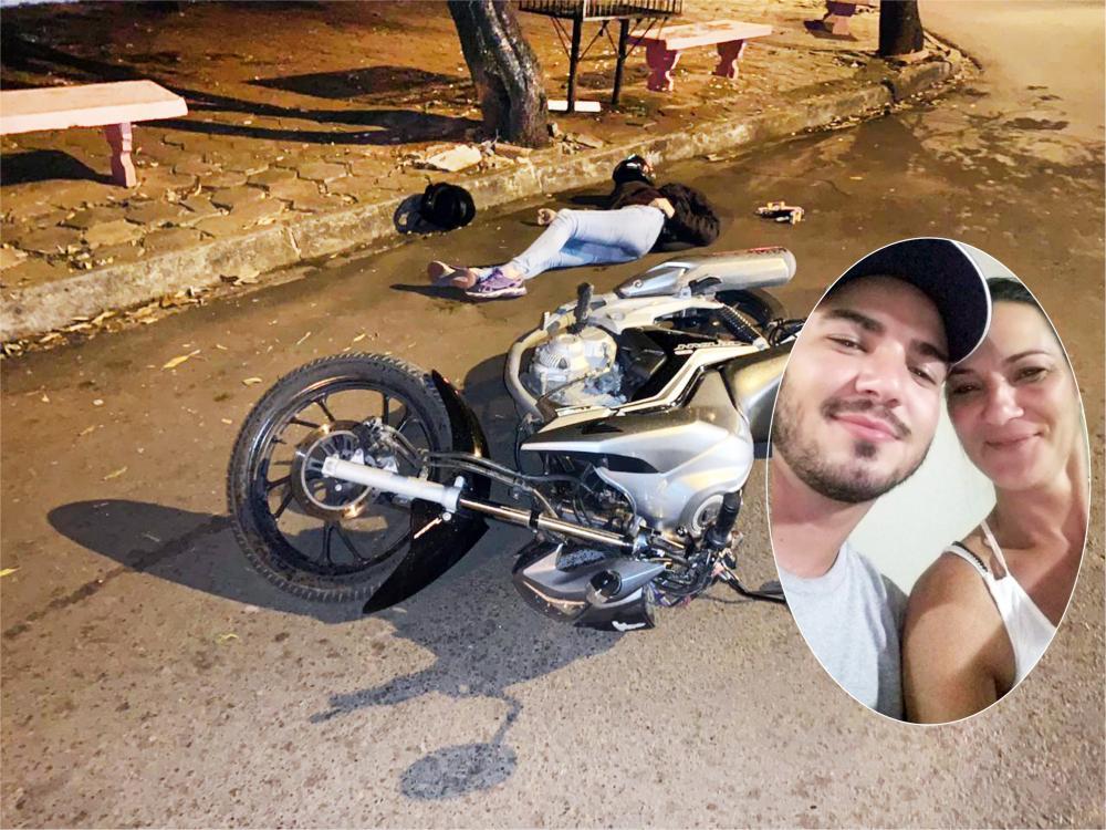Mulher caiu ao lado da motocicleta: Filho foi morto nesse terreno - Fotos: Juliano Carlos