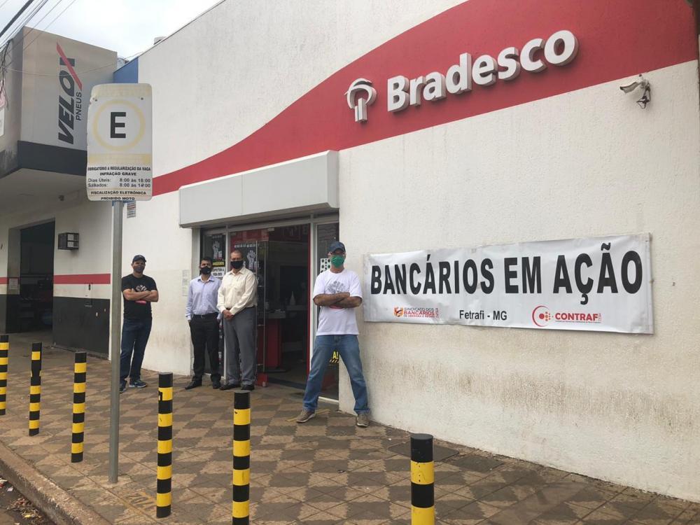 Paralização foi organizada pelo Sindicato dos Bancários de Uberaba - Foto: Divulgação