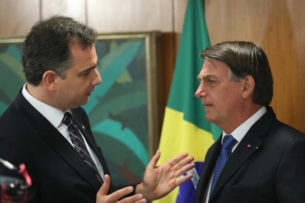 foto: Senador Rodrigo Pacheco (DEM) com o Presidente Jair Bolsonaro
