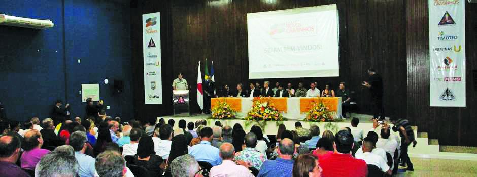 Parceria foi assinada no auditório da Prefeitura de Timóteo, no Vale do Aço - Foto:Bernardo Carneiro