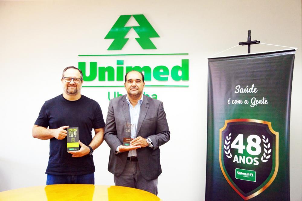 Presidente do Legislativo, Ismar Vicente dos Santos – Marão e presidente da Unimed Uberaba, Wilson Adriano Abrão Borges