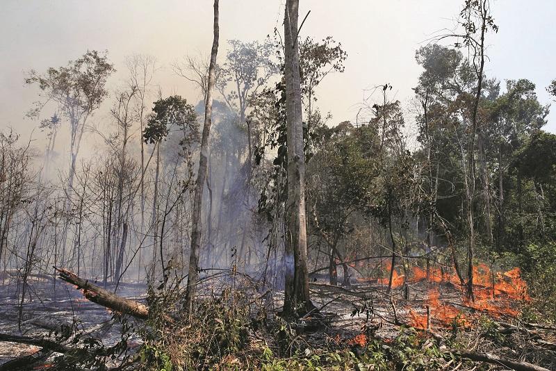 Queimadas na Amazônia - Foco de fogo na floresta amaônica na cidade de União do Sul, em Mato Grosso - Foto: Reuters/Amanda Perobelli