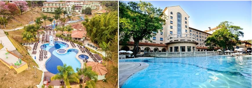No Tauá Resort & Convention Caeté e no Grande Hotel Termas de Araxá as piscinas externas possuem águas aquecidas - Foto: Divulgação