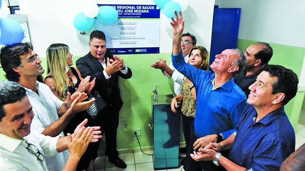Prefeito Paulo Piau e demais autoridades do município entregam a revitalização da URS São Cristóvão que retoma o atendimento hoje - Foto: Marco Aurélio/PMU