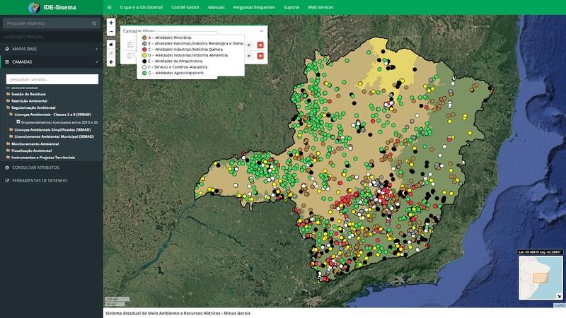 Programa permite visualização completa dos atributos ambientais do território mineiro e é grande aliado do licenciamento ambiental - Foto: Divulgação / Semad