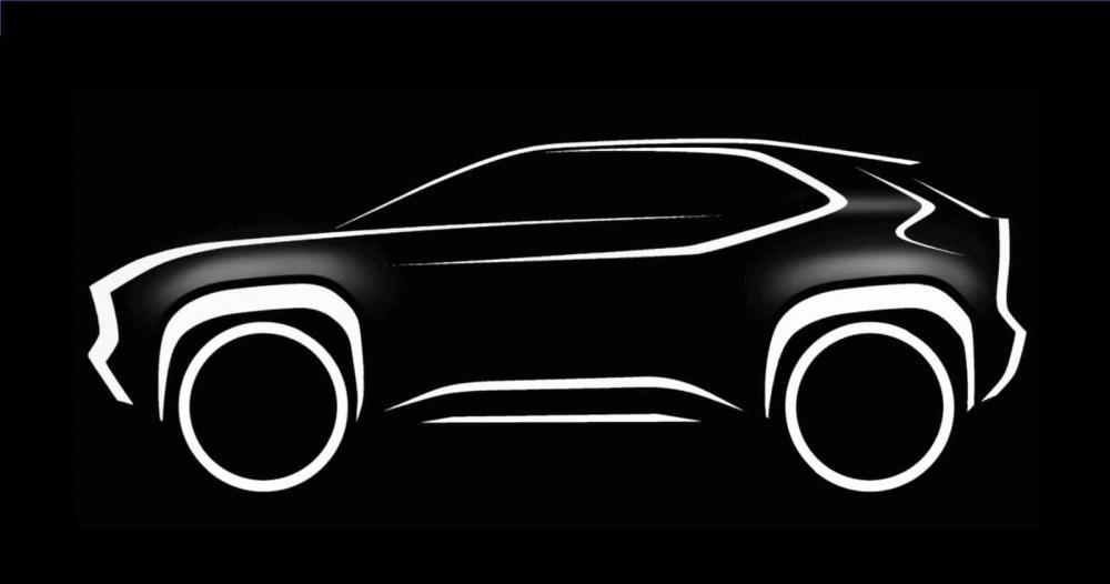 SUV baseado no Yaris foi anunciado ao lado do teaser, que mostra suas linhas gerais - Foto: Reprodução/Toyota