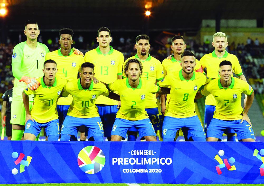 Jogadores titulares do Brasil na estreia no Pré-Olímpico; seleção derrota equipe peruana por 1 a 0 - Foto: Lucas Figueiredo / CBF