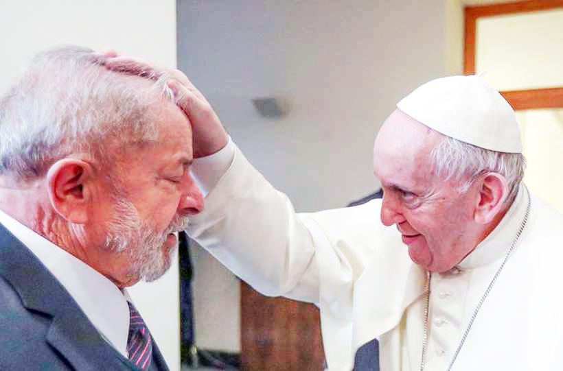 Para Francisco recebe o ex-presidente Lula no Vaticano - Foto: Reprodução/Twitter