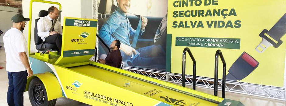 Equipamento lançado na Cidade Administrativa, em BH, é aberto ao público com mais de 14 anos e demonstra o impacto de uma colisão de automóvel - Foto: Divulgação/Seinfra