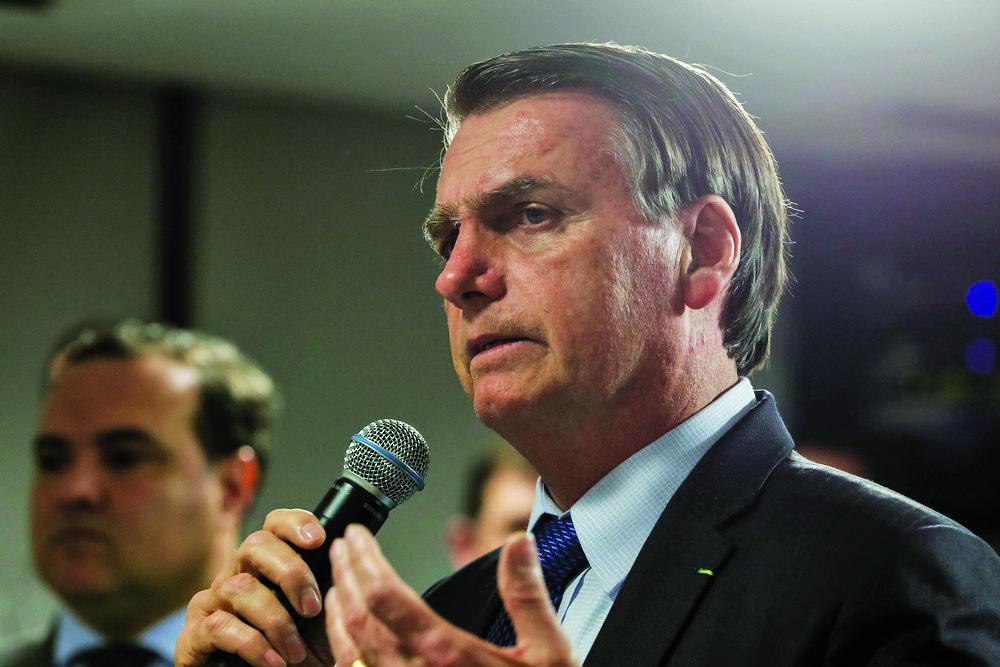 O presidente Jair Bolsonaro durante evento no Palácio do Planalto